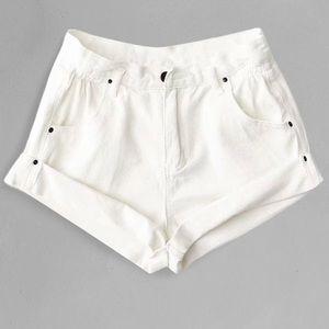 NWOT High waisted white denim shorts